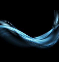 Dark blue abstract flowing dynamic waves vector