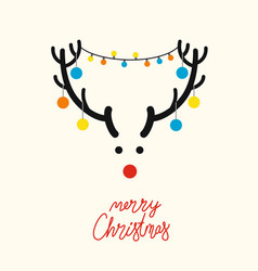Deer head with christmas tree toys vector