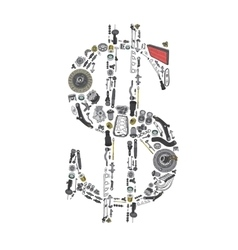 Dollar money with auto parts for car vector