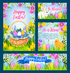 easter eggs in grass greeting banner template vector image