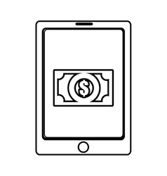Electronic device with bill icon on the screen vector