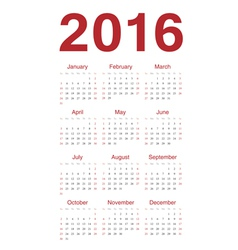 European 2016 year calendar vector