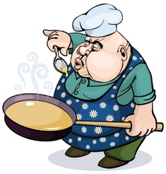 Fat cook with a pan vector image