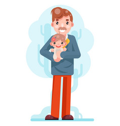 father daughter family concept cute happy child vector image