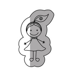 figure happy girl with one tail icon vector image