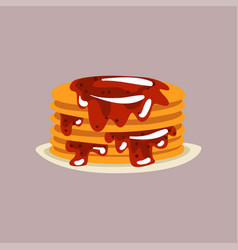 fresh tasty pancakes with berry jam on a plate vector image