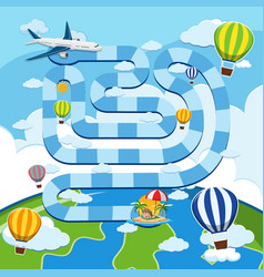 Game template with airplane and balloons in sky vector