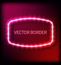glowing neon frame with light bulbs on colorful vector image