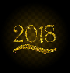golden particles wave in form of 2018 vector image vector image