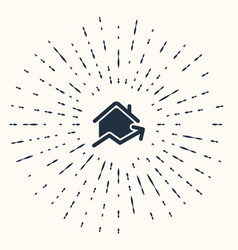 Grey rising cost housing icon isolated on beige vector