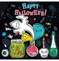Halloween greeting card with ghost bottle vector