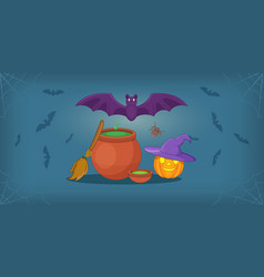Haloween horizontal banner cartoon style vector