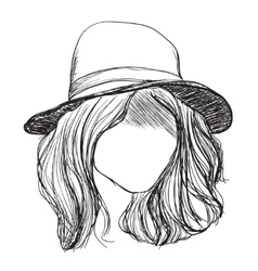 Hand drawn hair Girl in the hat vector image