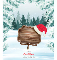 Holiday christmas background with wooden sign and vector