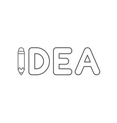 icon concept idea word with pencil vector image