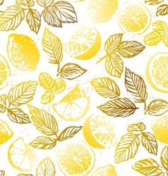 Ink hand drawn herbal tea with lemon seamless patt vector
