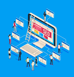 Isometric seo agency creative people startup vector