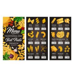 italian pasta menu spaghetti penne macaroni vector image