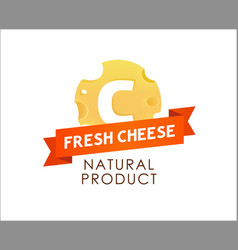 label of cheese with caption on red ribbon vector image