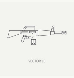 Line flat military icon - machine gun army vector