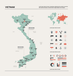 Map vietnam high detailed country map with vector
