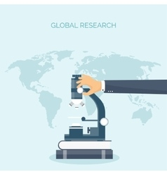 Microscope with hand Flat vector image