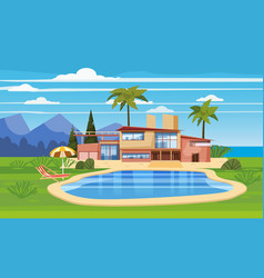 Modern villa on residence in exotic country vector