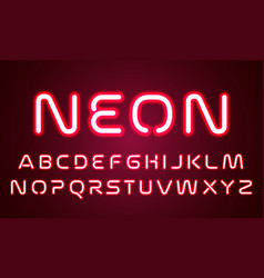 neon light alphabet font letters red ultraviolet vector image