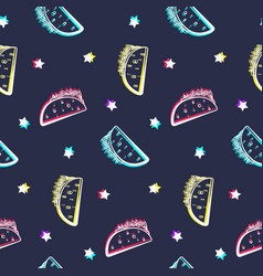 night party pattern with shiny tacos and stars vector image