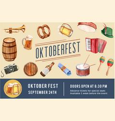 Oktoberfest frame design with beer pretzel vector