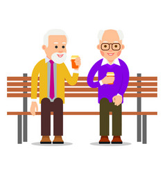 Older men sit on a bench and drink coffee old men vector