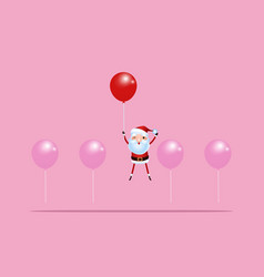 outstanding santa claus rises above with balloon vector image