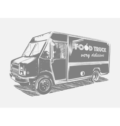 Painted food truck on a white background vector