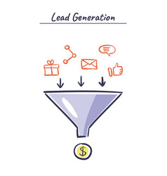 process of leads production in sales funnel vector image