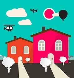 Retro Flat Design Houses vector image