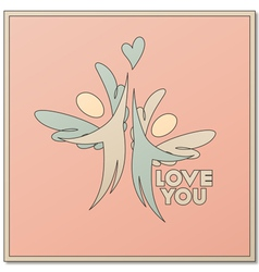 Romantic design with two angels vector