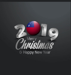 Samoa flag 2019 merry christmas typography new vector