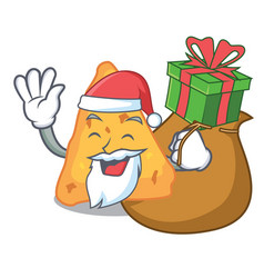 Santa with gift nachos mascot cartoon style vector