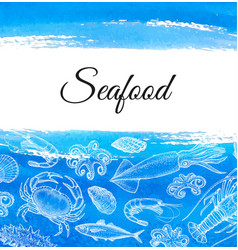 Seafood menu design template vector