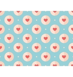 Seamless pattern of red hearts on a turquoise vector image