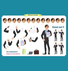 Set businessman character vector