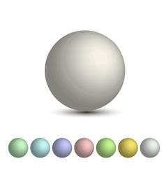 set of 3D balls a palette of pastel vector image