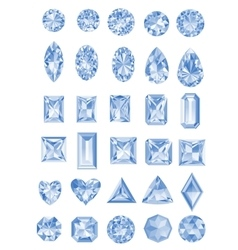 Set realistic diamonds with different cuts vector
