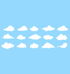 set white flat cloud icons isolated on blue vector image
