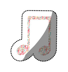 sticker musical note color silhouette formed by vector image
