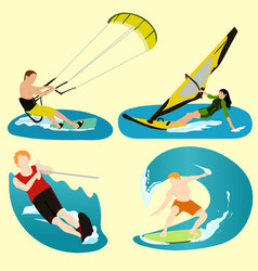 Surfing sport summer relax ocean sea beach vector