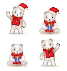 Teddy Bear cub new year Realistic 3d icons set vector