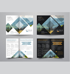 Template of the bi-fold brochure with rhombuses vector