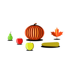 Thanksgiving day vegetables fruits products set vector