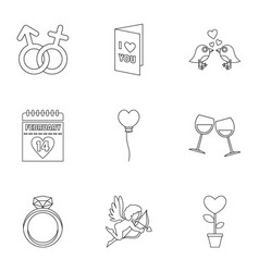 valentine day and wedding icons set outline style vector image